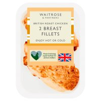 Waitrose 2 British skin on roast chicken breast fillets