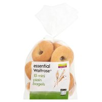 essential Waitrose mini plain bagels