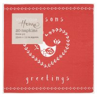 Waitrose Home Seasons Greetings Red Napkins