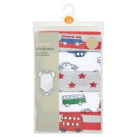 Waitrose 5PK BOYS BODYSUIT - TRAVELLER NB