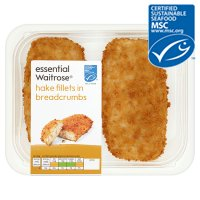 essential Waitrose MSC 2 hake fillets in breadcrumbs
