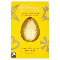 Divine Fairtrade Luxury 70% Dark Chocolate Egg with Dark Chocolate Mini Eggs 260g