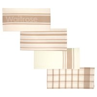 Waitrose Cooking taupe tea towels, set of 4