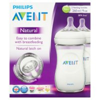 Philips Avent 260ml 1month+ natural bottles, pack of 2