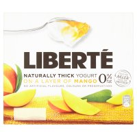 Liberté Greek style 0% fat yogurt on a mango layer