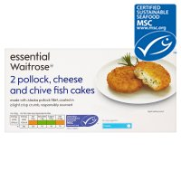 essential Waitrose MSC cheese & chive fishcakes