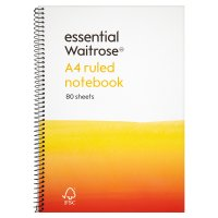 essential Waitrose A4 ruled notebook, pack of 80 sheets