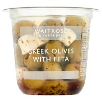 Waitrose Greek olives with feta in a herb dressing