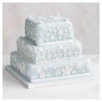Blossom 3 Tier Pastel Blue Wedding Cake, Lemon sponge (all tiers)