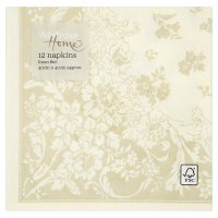 Waitrose Home 40cm taupe damask linen feel napkins