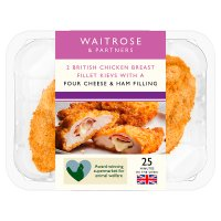 Waitrose 2 cheese & ham breaded whole chicken breast kievs