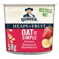 Quaker Oats banana & strawberry porridge cereal pot