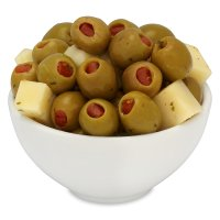 Waitrose tapas olive mix, pimento stuffed olives and manchego cheese