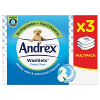 Andrex Classic Clean Toilet Tissue Wipes Washlets Triple Pack