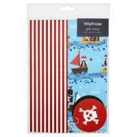 Waitrose pirate spot & stripe giftwrap, pack of 2 sheets and 2 tags