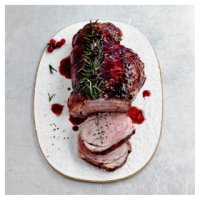 Boneless lamb leg with red berry glaze