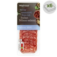 Waitrose farm assured Italian milano salami, 6 slices