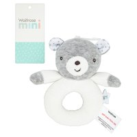 Waitrose Mini Neutral Bear Ring Rattle