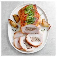 Pork, sage & caramelised onion stuffed turkey breast, wrapped in a bacon lattice 1kg