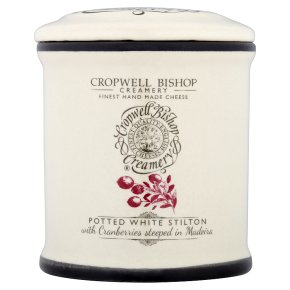 Cropwell Bishop potted white stilton cheese with cranberries 100g