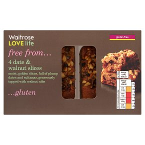 Waitrose LOVE life gluten free date & walnut slices - Waitrose