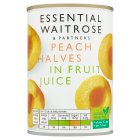 Essential Waitrose Peach Halves (in fruit juice) - 410g