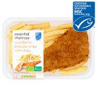 essential Waitrose MSC breaded line caught cod fillet with chunky chips - 300g