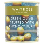Waitrose, stuffed green olives with anchovy in brine - drained 85g