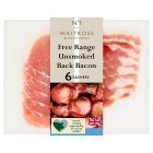 Waitrose 6 British free range unsmoked dry cured back bacon rashers - 200g