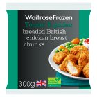 Waitrose Frozen British breaded chicken breast chunks - 300g