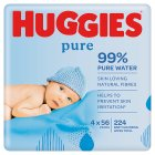 Huggies Pure Baby Wipes, Quad Pack 4x64's - 224s