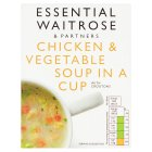essential Waitrose chicken & vegetable soup in a cup - 4x18g