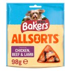 BAKERS® Allsorts Adult Dog Chicken, Beef & Lamb Treats Bag - 98g