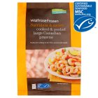 Waitrose Frozen MSC wild caught cooked & peeled large Canadian prawns - 300g