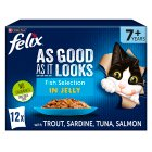 Felix Senior 'As Good as it Looks' 12 pouches - Fish Selection in jelly - 12x100g Brand Price Match - Checked Tesco.com 16/07/2014