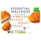 essential Waitrose 4 Frozen British chicken breast steaks - 380g