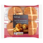 Waitrose date & cranberry hot cross buns - 4s