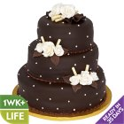 Chocolate Polka Dots & Roses Wedding Cake - each
