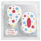 90th Birthday stars and dots cake - each