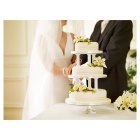 Ivory Lily & Rose Sugar Flower Wedding Cake - Fruit - 3 Tier -