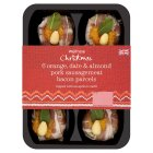Waitrose orange date & almond sausagemeat bacon parcels - 360g