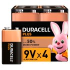Duracell Plus Power 9V Batteries Alkaline - 4s