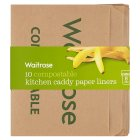 Waitrose Compostable Kitchen Caddy Paper Liners - 10s