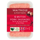Waitrose 6 British gourmet pork sausages with black pepper & nutmeg - 400g
