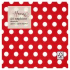 Waitrose Home 33cm red spot napkins - 20s