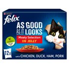Felix 'As Good as it Looks' meat selection in jelly, NEW flavours, 12 pouches - 12x100g