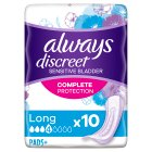 Always Discreet for Sensitive Bladder Long Pads 10 pack - 10s Brand Price Match - Checked Tesco.com 20/10/2014