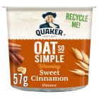 Quaker Oat So Simple sweet cinnamon porridge cereal pot - 57g