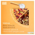 Waitrose hand stretched, thin & crispy chicken, onion & cherrybell pepper pizza - 410g