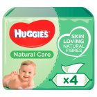 Huggies Natural Care Baby Wipes, Quad Pack 4x64's - 256s